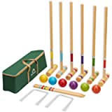 ApudArmis Six Player Croquet Set with Premiun Pine Wooden Mallets,Colored Ball,Wickets,Stakes - Lawn Backyard Game Set…