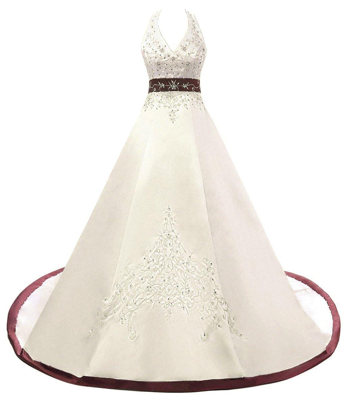 Ivory Burgundy Vantexi Women's Embroidery Satin Halter Wedding Dress Bridal Gown
