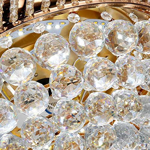 RS Lighting Unique Ceiling Fans K9 Crystal European Luxury Retractable Ceiling Fan Chandelier for Living Bed Restaurant Room Villa-Golden by RS Lighting (Image #3)