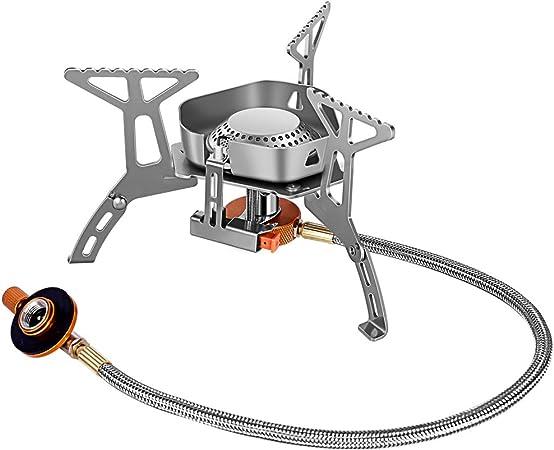 AYADA Mini Estufa Portatil de Camping Quemador Estufa de Gas al Aire Libre Picnic Quemador de Gas Plegable Camping de Campaña Metal Anti Viento Estufa ...