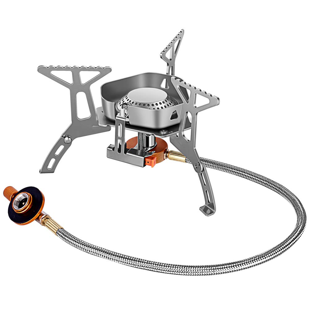 Camping Gas Stove Burner Backpacking Stove Portable Backpack Cooking Camp Stove with Igniter Hiking Outdoor Mini Small Lightweight Windproof Single Stainless Steel Isobutane Propane or Butane Propane by AYADA