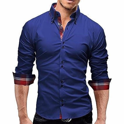Camisas de HombresDragon868 Casual Camisa de Manga Larga de Negocios ... 476ceafc93467