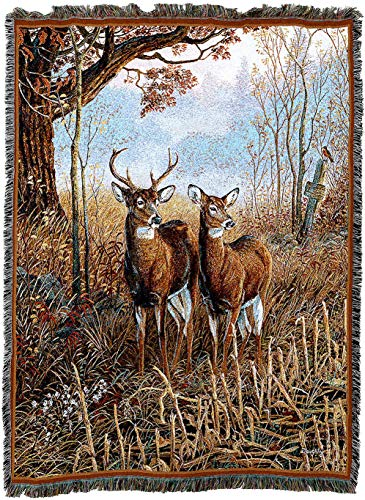 Pure Country Weavers - Buck Deer and Doe Hunting Country Treasures Woven Tapestry Throw Blanket with Fringe Cotton USA 72x54