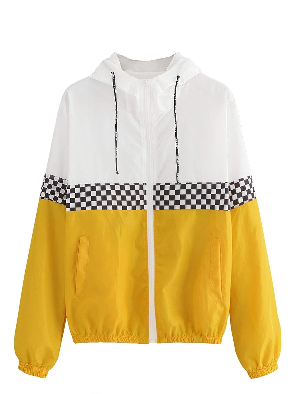Ginger Verdusa Women's Hooded color Block Drawstring Sports Windbreaker Jacket