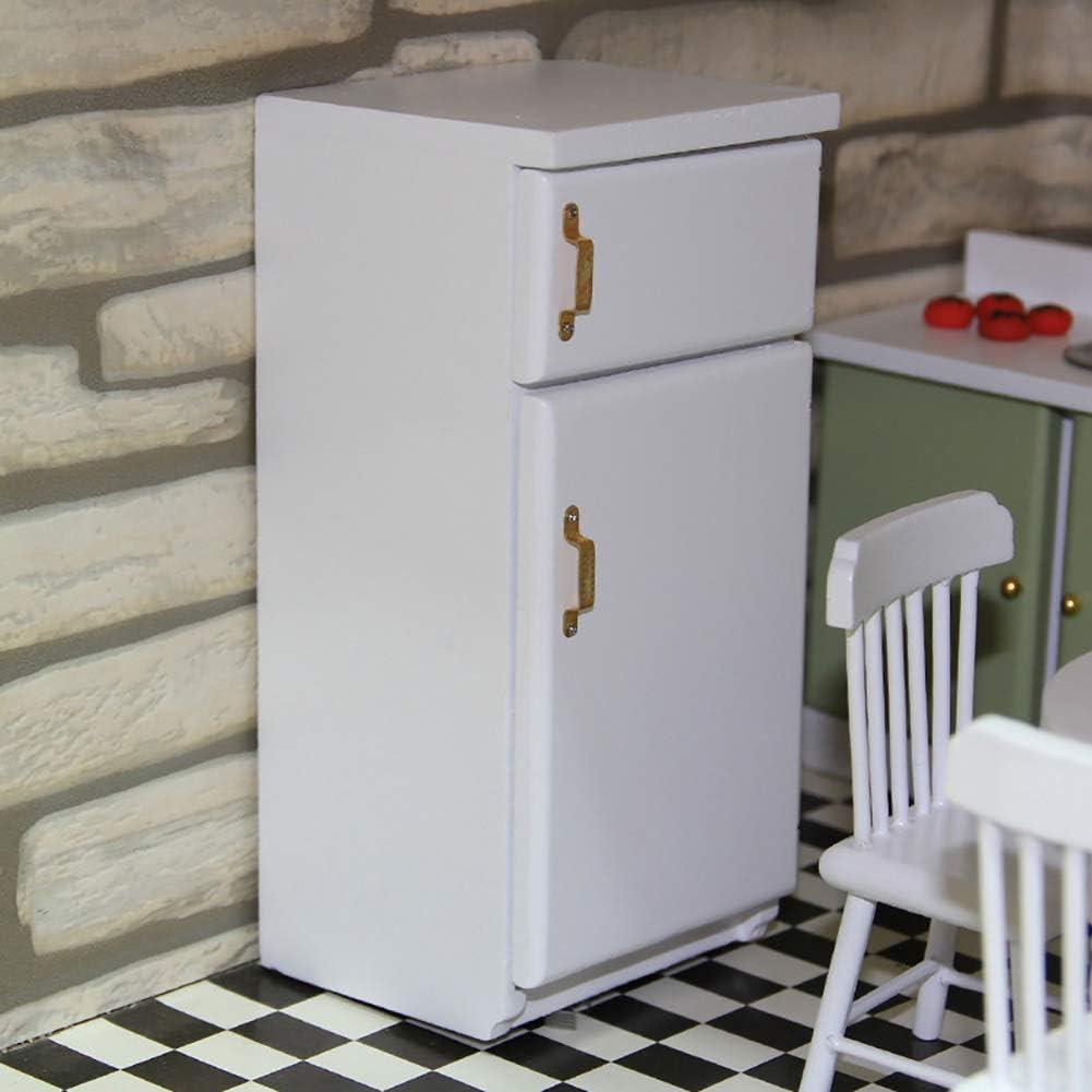 1:12 Dollhouse Room Wooden Realistic Scenes Kids Room Accessory Fridge
