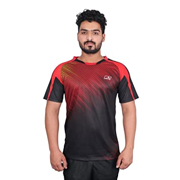 Vector X VRS-006 Sublimation T-Shirt (Red-Black) Men's Running T-Shirts at amazon