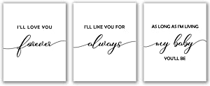 """I'll Love You Forever Print - Unframed, Inspiration Poster, Nursery Wall Art, Kid Room Decor, Baby Shower Print, Baby Girl Boy Nursery Poster Set of 3 (I_ll Love You Forever, 8"""" x 10"""")"""