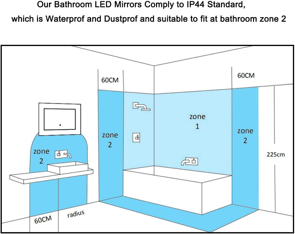 Xinyang 1200x700 Large Illuminated Led Bathroom Mirror With Demister Pad Rectangular Backlit Wall Mounted Touch Sensor Switch Ip44 Rated Wall Mounted Vanity Mirrors Bathroom Accessories