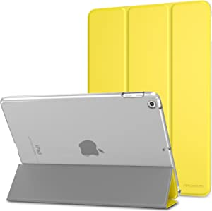 MoKo Case Fit 2018/2017 iPad 9.7 6th/5th Generation - Slim Lightweight Smart Shell Stand Cover with Translucent Frosted Back Protector Fit iPad 9.7 Inch 2018/2017, Lemon Yellow(Auto Wake/Sleep)