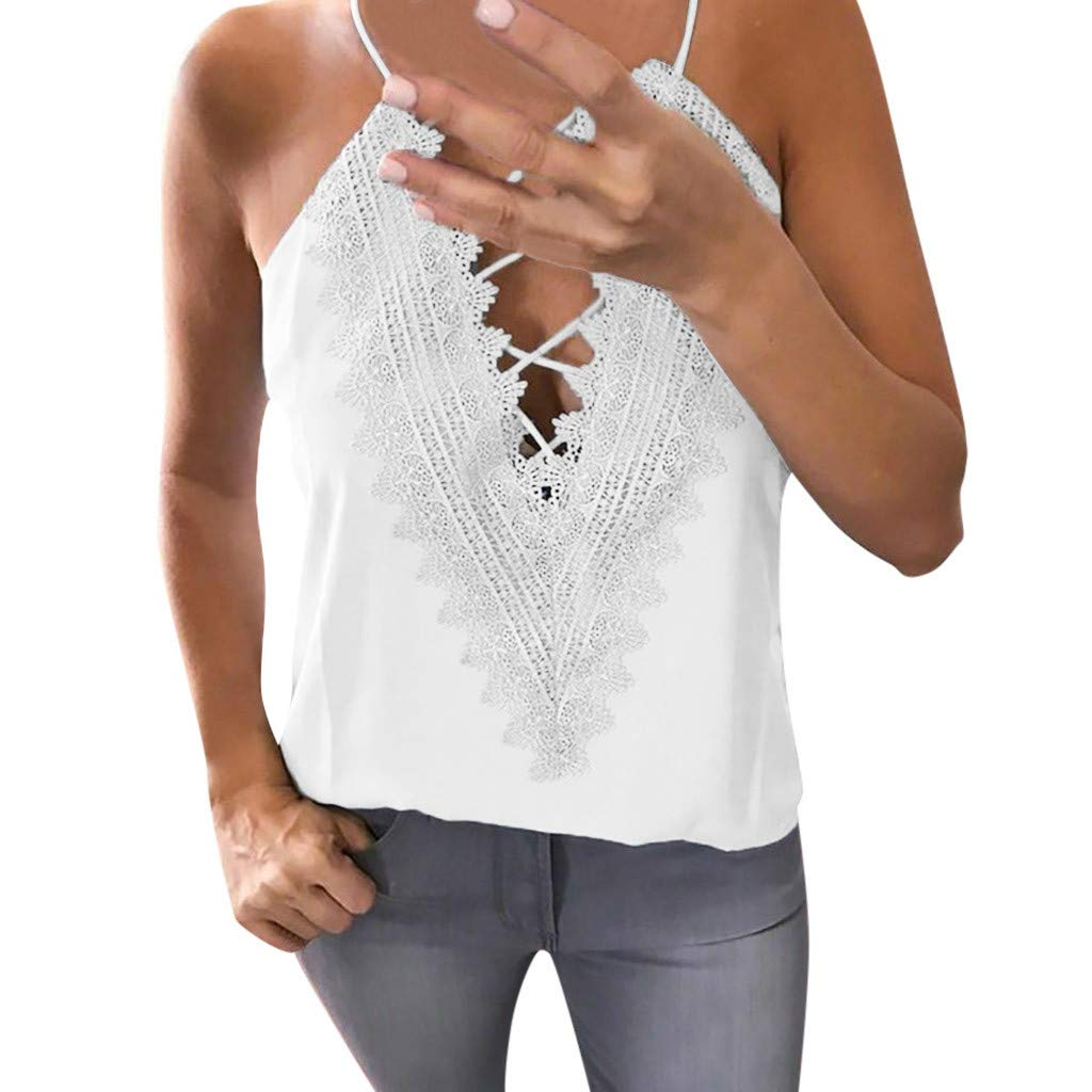 NUWFOR Women Summer Lace Sleeveless Vest Shirt Tank Tops Blouse T-Shirt(White,US XL Bust:37.0-40.9'')
