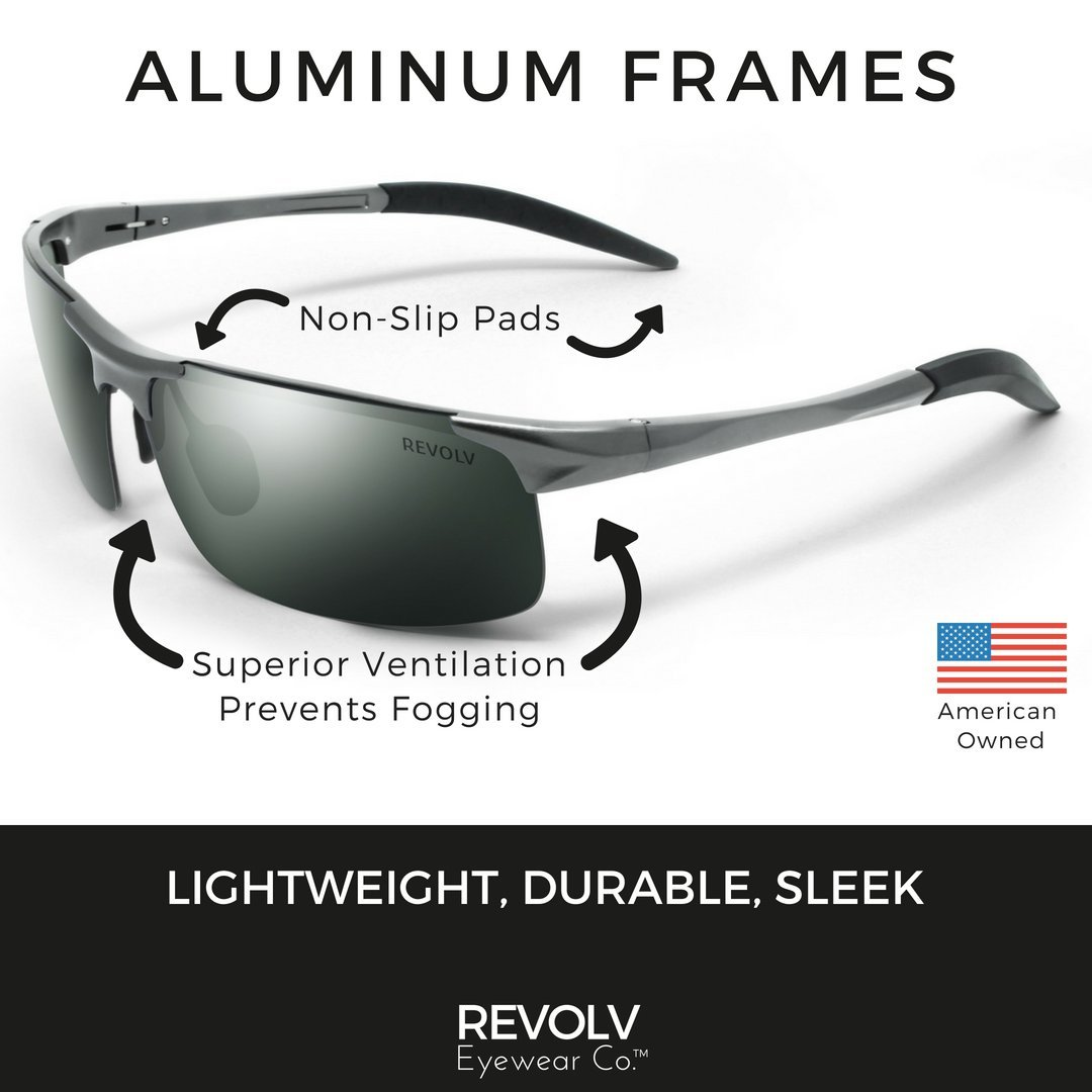 REVOLV POLARIZED MEN S SUNGLASSES SPORT WRAP STYLE ALUMINUM METAL FRAME PERFECT FOR DRIVING CYCLING RUNNING