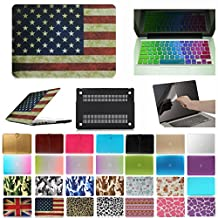 """Coosbo - 3in1 Fashion Matte Patterns Hard Case Cover + Keyboard skin + screen protector for 15.4 inch Apple Mac Macbook (15"""" Pro with Retina (Model:A1398 on the bottom of laptop), Flag-US)"""