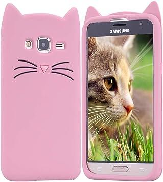 HopMore Compatible pour Coque Samsung Galaxy J3 2016 (J310) Silicone Souple Chat 3D Animal Motif Drôle Etui Samsung J3 2016 Étui Antichoc Fine Case ...