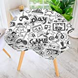 UHOO2018 Circular Solid Polyester Tablecloth-Black and White Sketch Style Gaming Design Racing Monitor Device Gadget Teen 90s for Wedding Restaurant Buffet Table Decoration 50'' Round