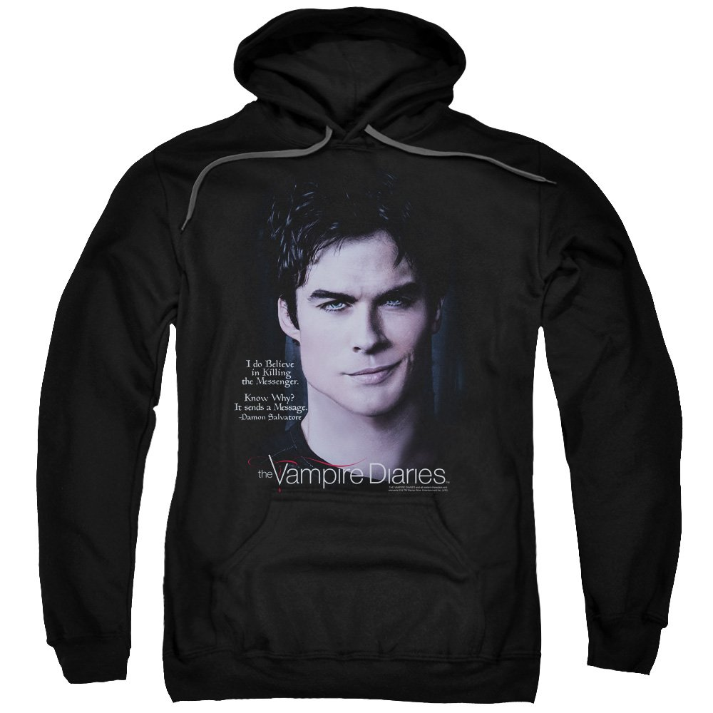 Hoodie: Vampire Diaries- Damon Killing The Messenger Pullover Hoodie Trevco