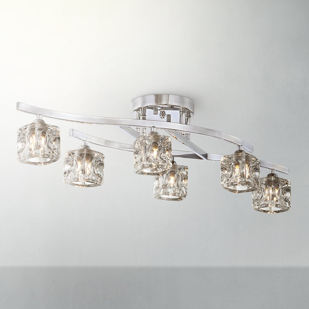 Possini Euro Crystal Cube And Chrome Ceiling Light