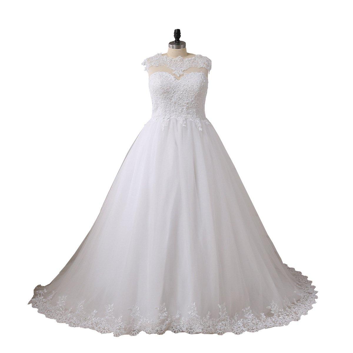 YIPEISHA Women\'s Plus Size Wedding Dresses Applique Beads Wedding Dress for  Bridal