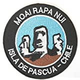 Moai Rapa Nui Easter Island Embroidered Iron on Patch / 3.5 Inch Embroidered Badge Giant Heads Trekking Applique Souvenir