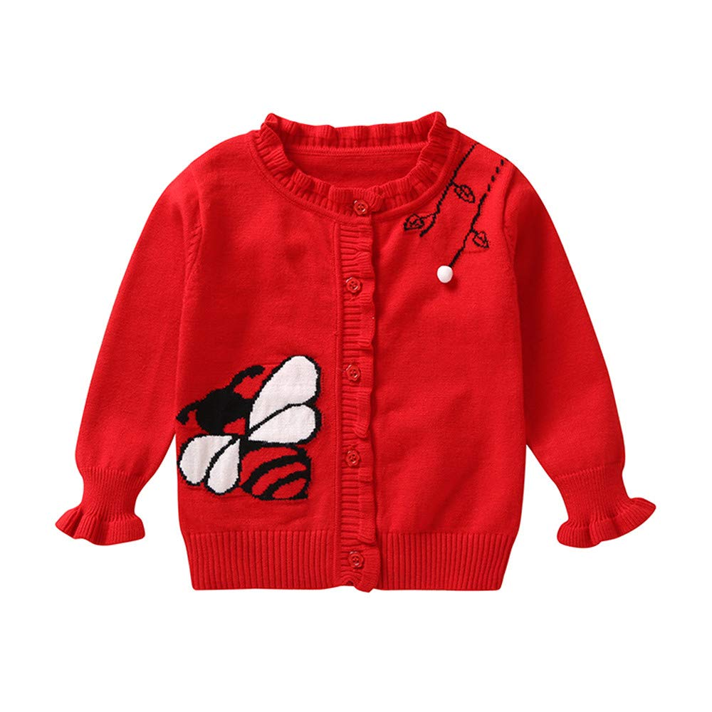 Clode Baby Sweater, Cute Toddler Infant Baby Girls Winter Cartoon Bee Print Knitted Sweater Pullover Sweatshirt Cardigan Tops Clode-TS-00387