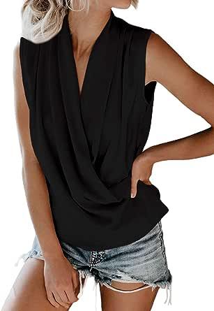 Eytino Women Wrap V Neck Drape Tunic Tank Tops Casual Sleeveless Solid Cami Blouse Shirts(S-XXL)