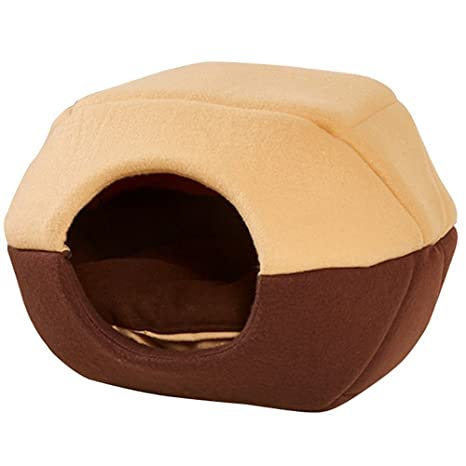 L-Peach Pet House Cute Dome Shape Pet Bed Cave Non-slip Windproof Bottom