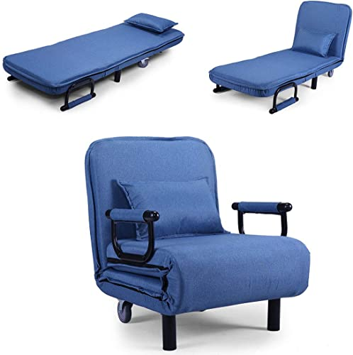 Blue Sofa Bed Arm Chair Convertible Single Dorm Room Couch Recliner Sleeper Foldable