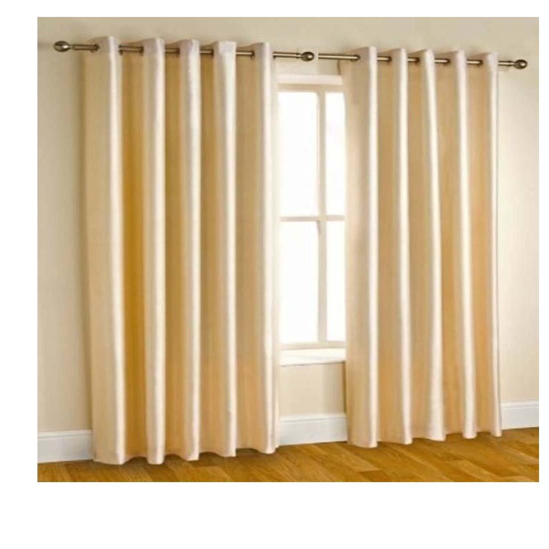 Av Creations Cream Plain Polyester Eyelet 5 Feet Window Curtains Set Of 2 152 X 122 Cm