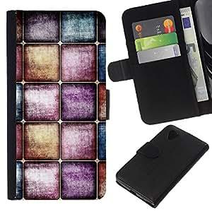 KLONGSHOP // Tirón de la caja Cartera de cuero con ranuras para tarjetas - Acuarelas Pastel Tones - LG Nexus 5 D820 D821 //
