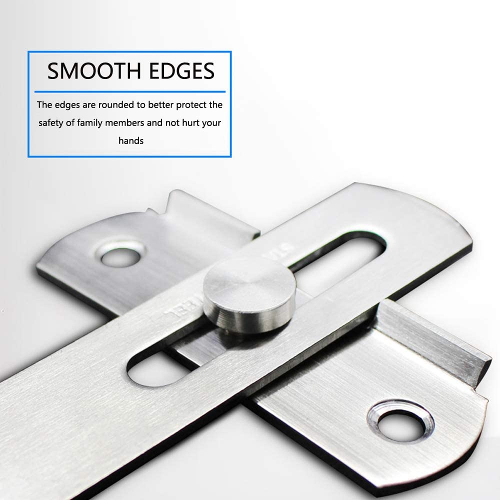 2 Pack 90 Degree Stainless Steel Flip Latch Sliding Door Latch Safety Door Lock Right Angle Curved Door Buckle Brushed Finish