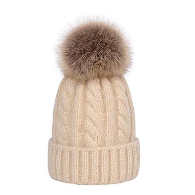 cb714c70b8d Lau s Bonnet tricoté bébé bonnets hiver fille avec amovible pompon en  fausse fourrure Beige