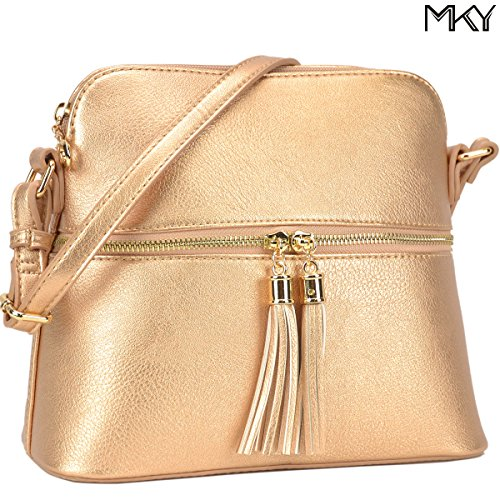 Ladies PU Leather Medium Crossbody Shoulder Bag Fashion Purse Large Capacity Tassel Rose Gold (Shoulder Bag Gold Medium)