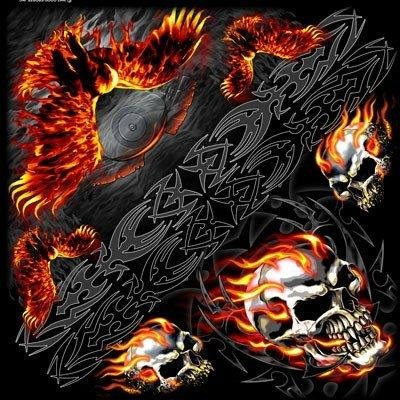 Bandana biker scarf Fabric Skull Flaming Eagle Skull Flame AMT CUSTOM