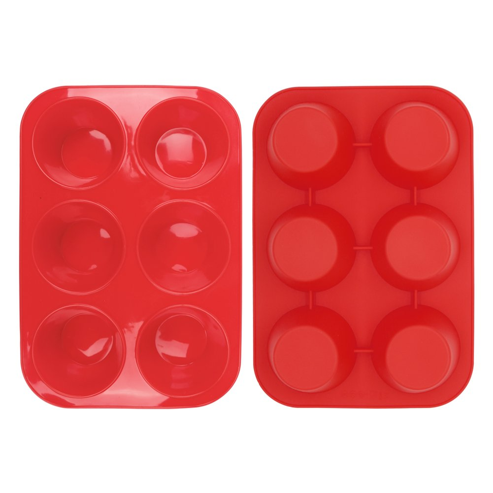 Home-Best-Buy 2 Pack Silicone Muffin Pan, 6 Cup Baking Tin, Non-Stick Bakeware for Cupcakes & Puddings (2)