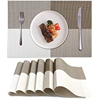 Akway Placemats Set of 6 Washable Table Mats Cup Mat...
