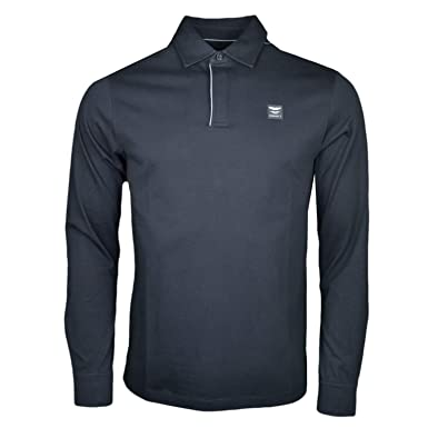 0c857dc47a2 Hackett Men's Jersey Long Sleeve Polo Shirt L Black at Amazon Men's  Clothing store: