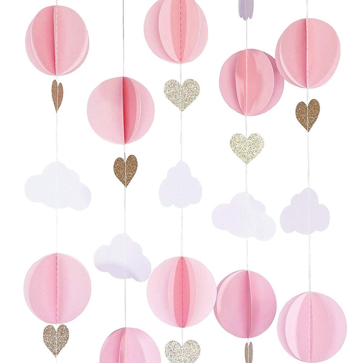 Cieovo パステルクラウド ホット エア バルーン ガーランド アップ アウェイ フォトプロップ テーマ 誕生日 ベビーシャワー 結婚式 装飾に最適 (カラー) air balloon pastel01  A-pink B07FNG238V