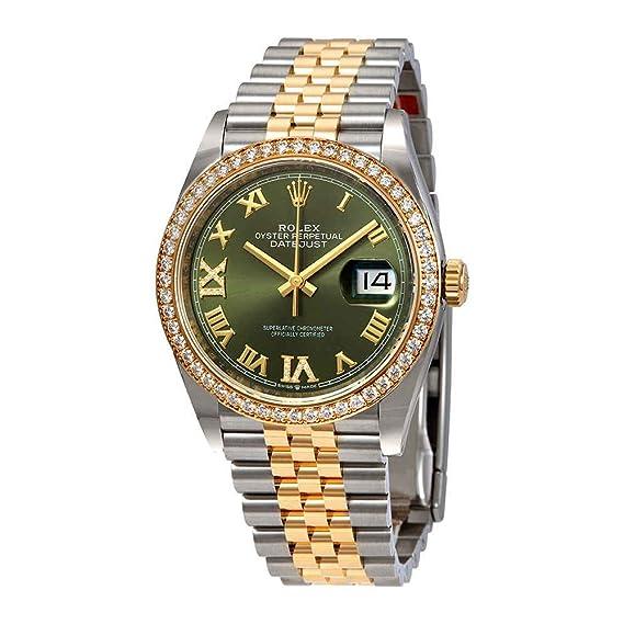 Rolex 126283GNRDJ- Reloj de Pulsera para Mujer, Acero y Oro Amarillo de 18 Quilates, Esfera de Diamante Verde: Amazon.es: Relojes