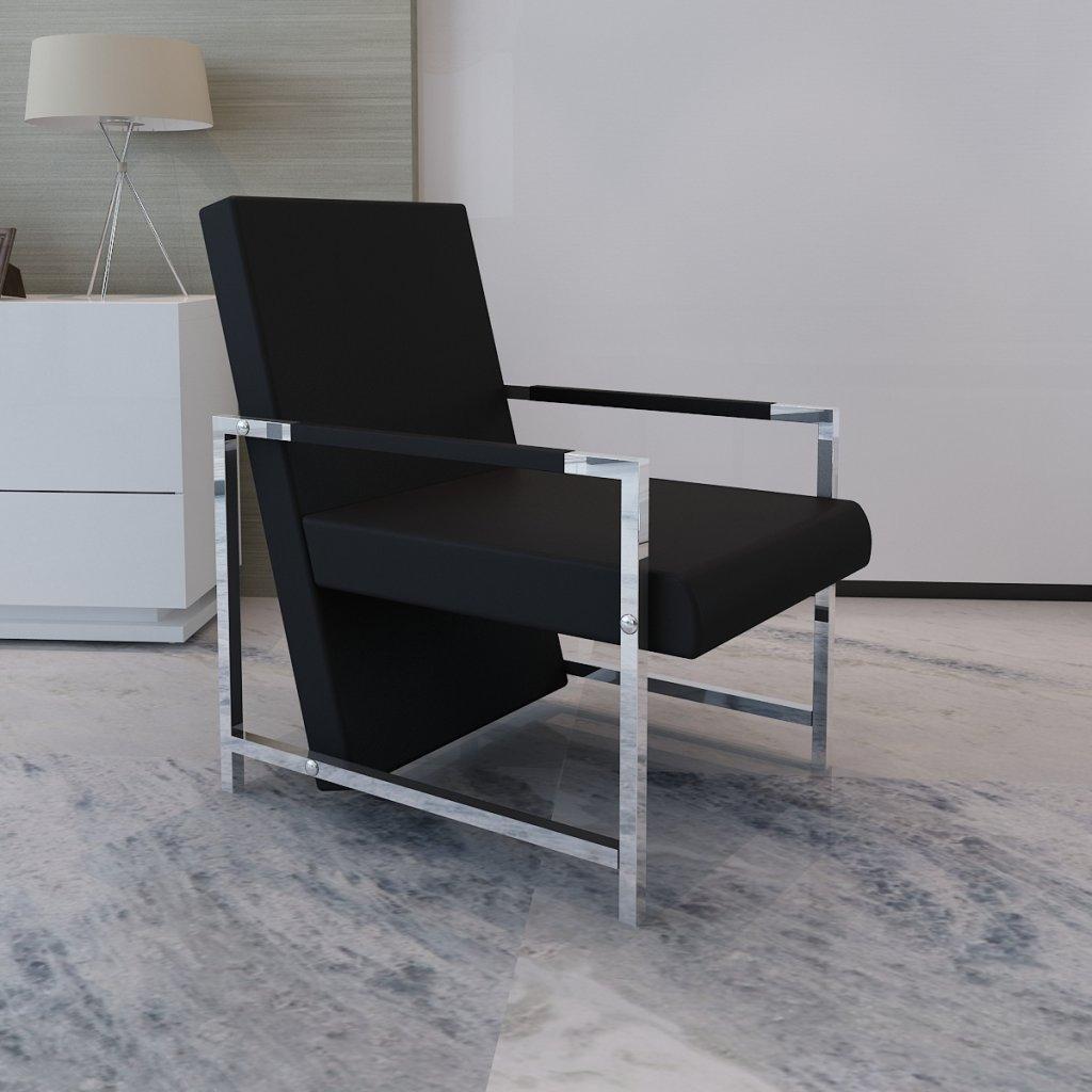 Anself Poltrona Cubo nera di alta qualità con piedi in cromo