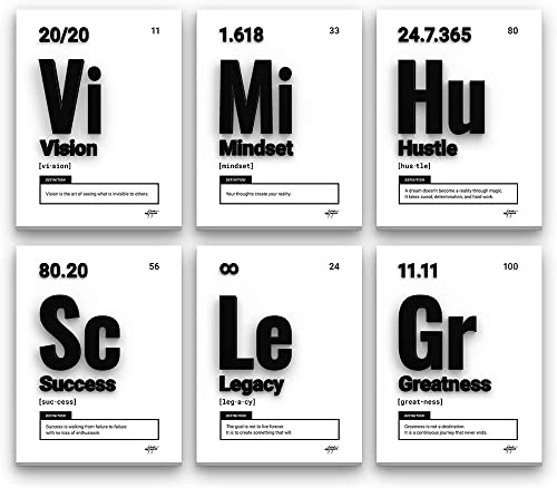 Inktuitive 'Elements of Success Set' Inspirational Wall Art w/Black Frame   Periodic Table Canvas Print   Motivational D cor