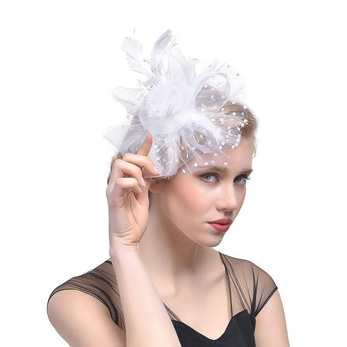 4bdb4e03bfba Elegante cappello da cocktail fiore maglia netto velo piuma fascinator  capelli clip cappello da sposa fascia bidal regalo  Amazon.it  Abbigliamento