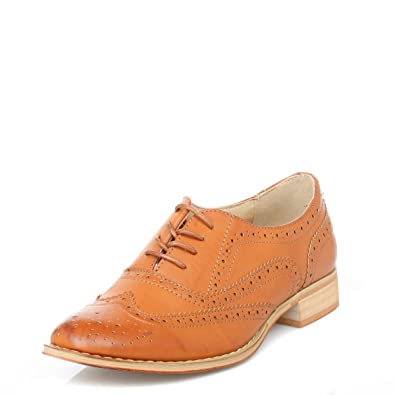 615cb1a8fbcce Ladies Tan Lace Up Brogue Shoe - Tan - size UK Ladies Size 9  Amazon ...