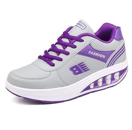 SANOMY Zapatillas de Mujer con cuña Ligera y cómodas, para Caminar y Caminar