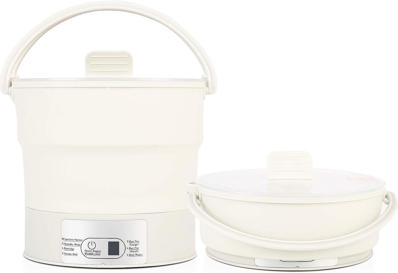 VWMYQ Mini Foldable Electric Hot Pot, 20oz/600ml Electric Cooker, Portable Egg Cooker, Boiling Water Steamer for Steam, Soup, Noodles, Ramen, Oatmeal