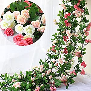 Htmeing 67 Inch Silk Rose Garland Artificial Rose Vine with Green Ivy Leaves for Home Hanging Wedding Decor,Pack of 2 45