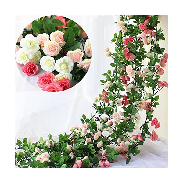Htmeing-67-Inch-Silk-Rose-Garland-Artificial-Rose-Vine-with-Green-Ivy-Leaves-for-Home-Hanging-Wedding-DecorPack-of-2