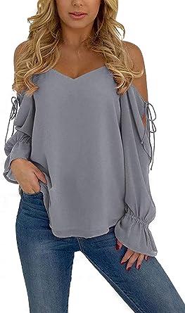 YOINS - Camisa de mujer de manga larga y hombros descubiertos para playa, cuello en V, muselina con cordones informal: Amazon.es: Ropa y accesorios