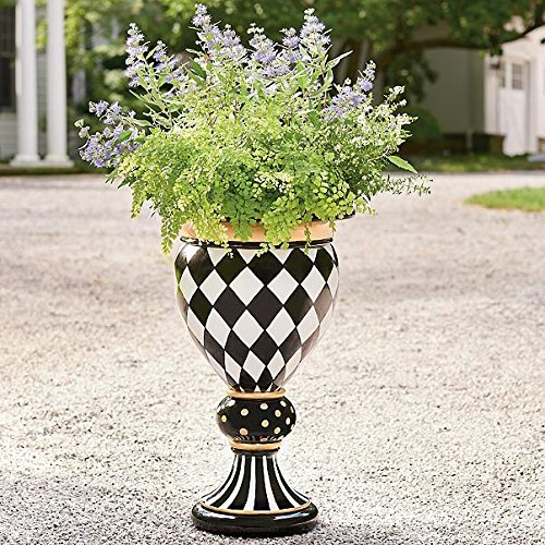 Luxe Black White Gold Geometric Diamond Handpainted Pedestal Urn Planter Outdoor by Outdoor Collection