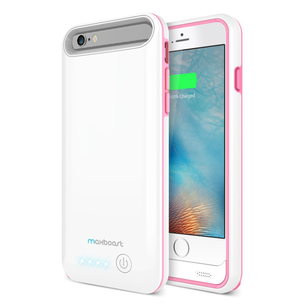 iPhone 6/iPhone 6S Battery Case, Maxboost [VIVID Power] Ultra Slim 3100mAh Battery for iPhone 6/6s (4.7 inch) [MFI Certified] Extended Charging iPhone Portable Charger Case - White/Pink