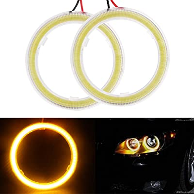 Everbrightt 1-Pair Yellow 60MM 45SMD LED Vehicle Car Angel Eyes Halo Ring Lights Lamps with Shell: Automotive