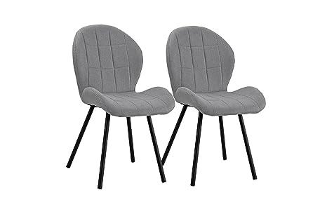 Amazon.com: Juego tapizado de 2 sillas de comedor, 2 sillas ...